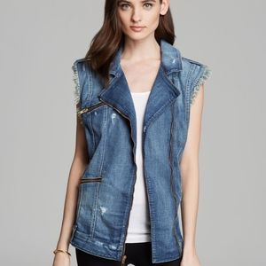 Guess Jean Vest Moto Style distressed with frindge